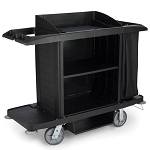 Rubbermaid Commercial FG618900BLA Full Size Housekeeping Cart w/out Doors Black