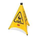 Rubbermaid Commercial 9S0100YL Pop-Up Safety Cone w/ Multi-Lingual