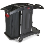 Rubbermaid Commercial 9T76 Compact Folding Housekeeping Cart Black