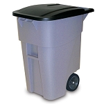 Rubbermaid Commercial 9W27GY 50 Gallon Brute® Rollout Container w/ Lid Gray
