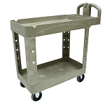 Rubbermaid Commercial 450088BK 2- Shelf Heavy-Duty Utility Cart w/ Lipped Shelf Small Beige