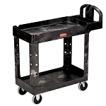 Rubbermaid Commercial 450088BG 2- Shelf Heavy-Duty Utility Cart w/ Lipped Shelf Small Black