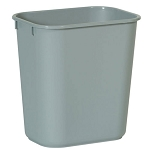 Rubbermaid Commercial 2955GRA 14 Qt. Deskside Plastic Wastebasket Grey