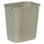 Rubbermaid Commercial 295600BG 28 Qt. Deskside Plastic Wastebasket Beige