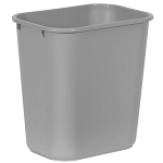 Rubbermaid Commercial 295600GY 28 Qt. Deskside Plastic Wastebasket Grey