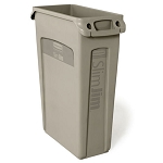 Rubbermaid Commercial 354060BG 23 Gallon Slim Jim® Rectangular Waste Container w/ Venting Channels Beige