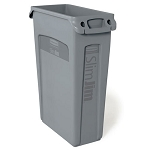 Rubbermaid Commercial 354060GY 23 Gallon Slim Jim® Rectangular Waste Container w/ Venting Channels Gray