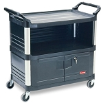 Rubbermaid Commercial 4095BLA Xtra™ Equipment Cart w/ Lockable Doors & Enclosed End Panels Black