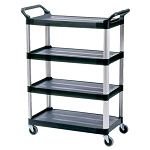 Rubbermaid Commercial RCP409600BLA Xtra™ 4-Shelf Cart w/ Open Sides Black