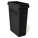 Rubbermaid Commercial 354060BK 23 Gallon Slim Jim® Rectangular Waste Container w/ Venting Channels Black