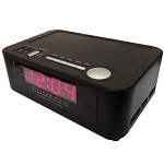 "Sonnet R-1212 0.9"" LED AM/FM Clock Radio w/ Wireless Bluetooth Charging Station & 2 USB Ports Black 16 Per Case Price Per Each"