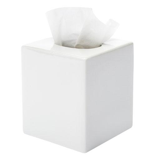 Ceramic Boutique Tissue Box Cover White