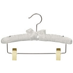 Styles Satin Padded Vinyl Coated Metal Hanger w/ Brass Clips, Ivory, 100 Per Case Price Per Case