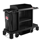 Suncast Commercial Full Size Standard Housekeeping Cart w/ Premium Upgrades & 360° Adjustable Caster System