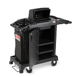 Suncast Commercial Compact High-Security Housekeeping Cart w/ Premium Upgrades