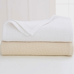 Martex Sovereign Diagonal Stripe Thermal Blanket Twin 66x90 100% Cotton White or Natural 4 Per Case Price Per Each