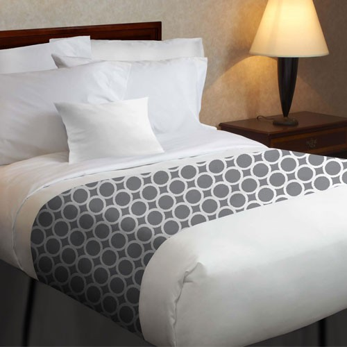 1888 Mills Beyond Impressions Grey Circles Top Cover w/ Printed Design Bed Scarf Full 87x120 100% MJS Polyester 12 Per Case Price Per Each