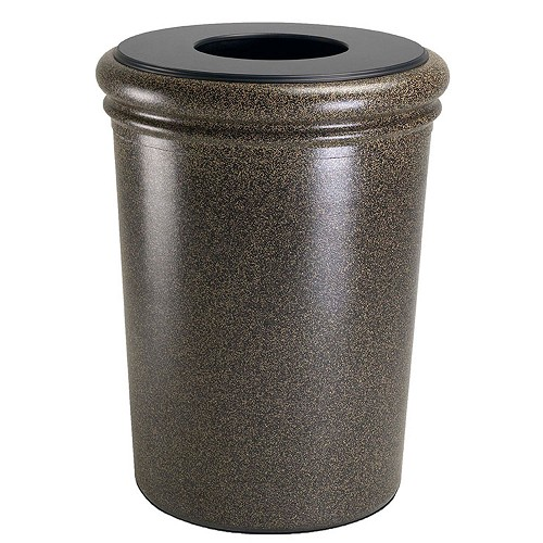 Commercial Zone 174 50 Gallon Round Stonetec Waste Container Aspen