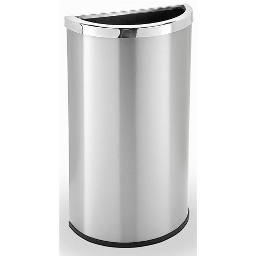 Commercial Zone® Precision Series 15-Gallon Half Moon Waste Container Stainless Steel
