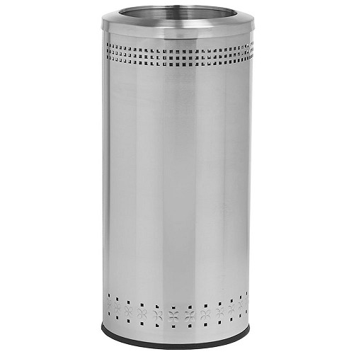 Commercial Zone® Precision Series 25-Gallon Imprinted 360° Waste Container w/ Open Top Stainless Steel