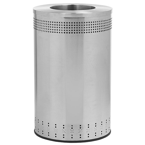 Commercial Zone® Precision Series 45-Gallon Imprinted 360° Waste Container w/ Open Top Stainless Steel