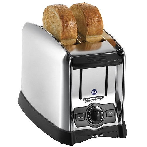 Proctor-Silex Commercial 22850 2 Slice Extra-Wide Slot Toaster w/ Smart Bagel Function Stainless Steel/Black