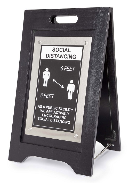 Hospitality 1 Source Social Distancing Floor Sign Black Finish/Nickel Plate Finish 2 Per Case Price Per Each