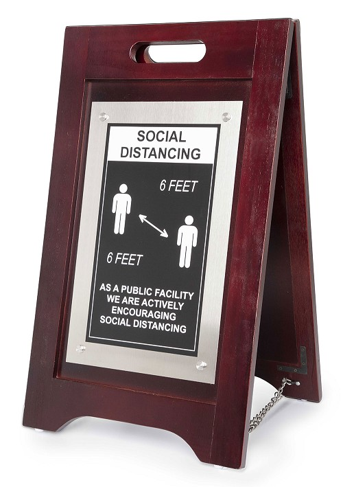 Hospitality 1 Source Social Distancing Floor Sign Walnut Finish/Nickel Plate Finish 2 Per Case Price Per Each