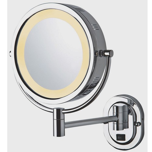 "Jerdon HL165CD 8"" Lighted Wall Mount Mirror 1X-3X Magnification Direct Wire Chrome 4 Per Case Price Per Each"