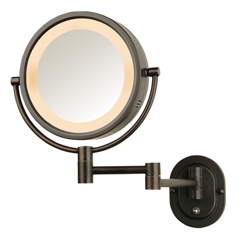 "Jerdon HL65BZD 8"" Lighted Wall Mount Mirror 1X-5X Magnification Direct Wire Bronze 4 Per Case Price Per Each"