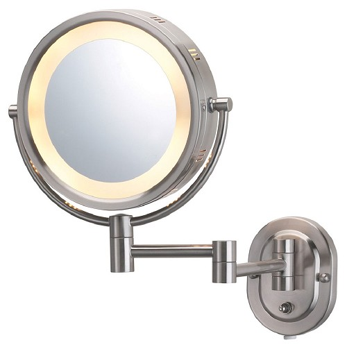 "Jerdon HL65ND 8"" Lighted Wall Mount Mirror 1X-5X Magnification Direct Wire Nickel 4 Per Case Price Per Each"