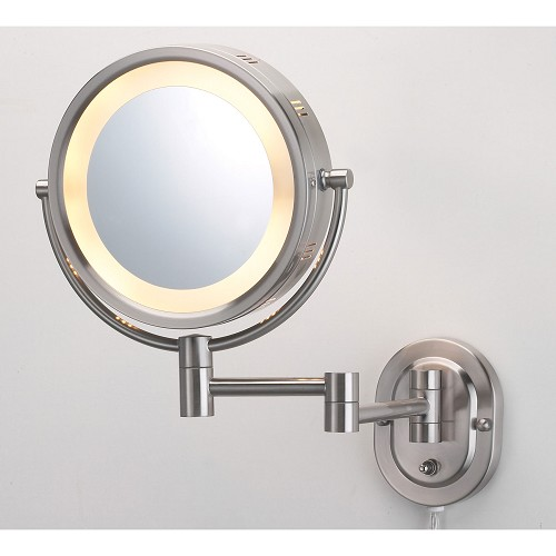 "Jerdon HL65N 8"" Lighted Wall Mount Mirror 1X-5X Magnification Nickel 4 Per Case Price Per Each"