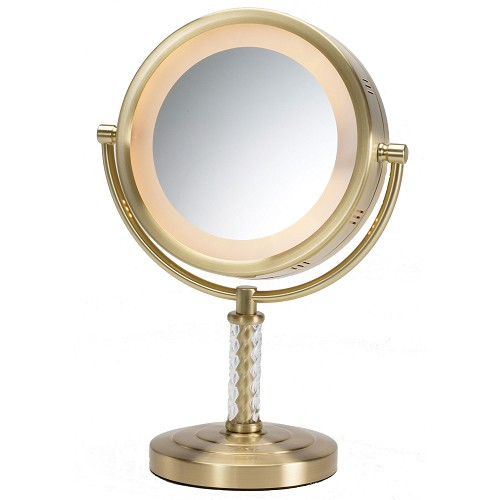 "Jerdon HL856BC 8"" Lighted Tabletop Mirror 1X-6X Magnification Brushed Brass 3 Per Case Price Per"