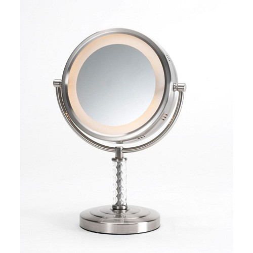 "Jerdon HL856MNC 8"" Lighted Tabletop Mirror 1X-6X Magnification Nickel 3 Per Case Price Per Each"