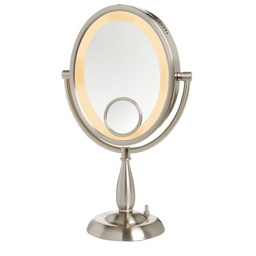 Jerdon HL9510N Oval Lighted Tabletop Mirror 1X-10X Magnification w/ 15X Spot Nickel 2 Per Case Price Per Each