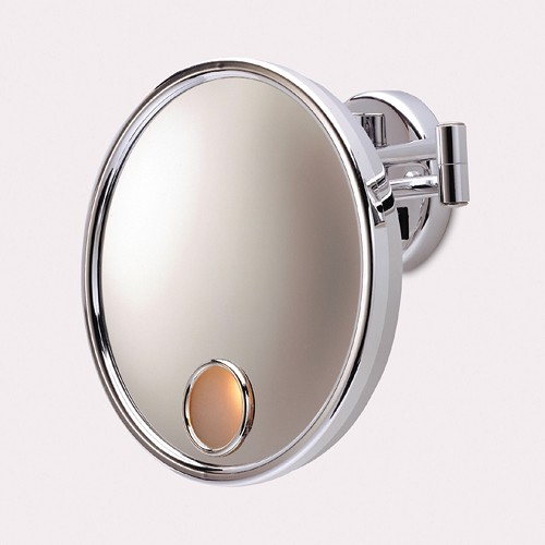 "Jerdon JD7C 9.5"" Euro Lighted Wall Mount Mirror 3X Magnification Chrome 4 Per Case Price Per Each"