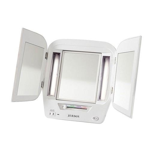 Jerdon Jgl12w Euro Led Lighted Trifold Tabletop Makeup