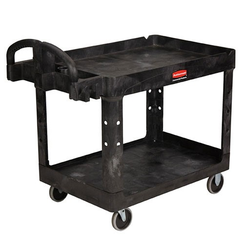 Rubbermaid Commercial 452088BK 2- Shelf Heavy-Duty Utility Cart w/ Lipped Shelf Medium Black