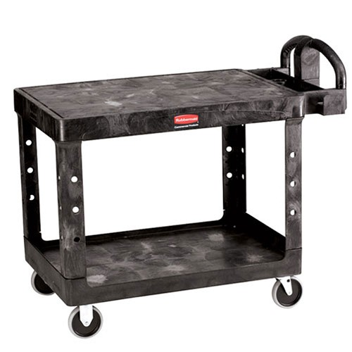 Rubbermaid Commercial 452500BK 2- Shelf Flat Utility Cart Medium Black