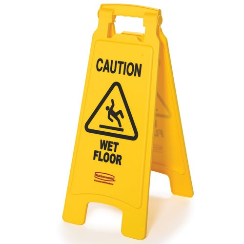 "Rubbermaid Commercial 611277YW Floor Sign w/ ""Caution Wet Floor"" Imprint 2-Sided"