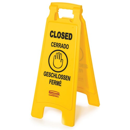 "Rubbermaid Commercial 611278YEL Floor Sign w/ Multi-Lingual ""Closed"" Imprint 2-Sided"