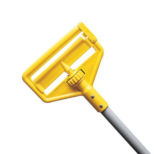 "Rubbermaid Commercial H126 60"" Invader® Side Gate Wet Mop Handle w/ Large Yellow Plastic Head & Gray Aluminum Handle"