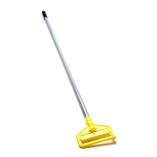 "Rubbermaid Commercial H146 60"" Invader® Side Gate Wet Mop Handle w/ Large Yellow Plastic Head & Gray Fiberglass Handle"