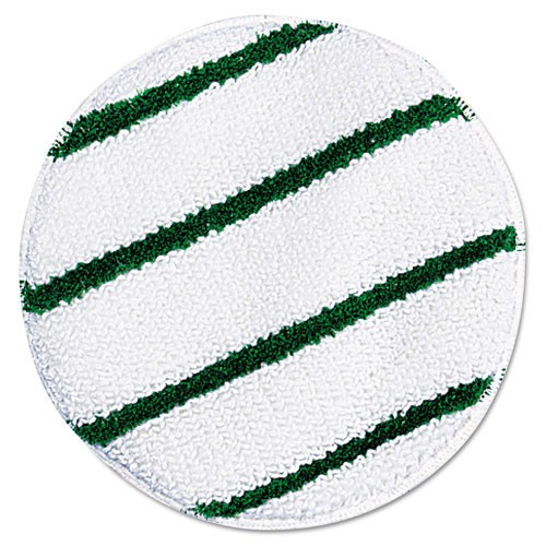 "Rubbermaid Commercial P267 17"" Diameter Rotary Yarn Bonnets With Scrub Strips White/Green"