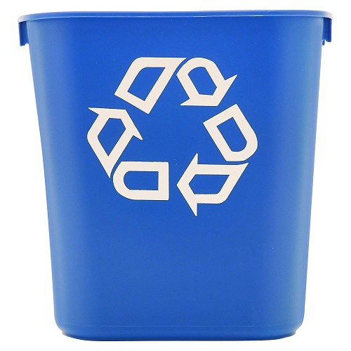 Rubbermaid Commercial 295573BE 14 Qt. Deskside Paper Recycling Container Blue