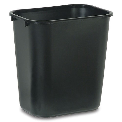 Rubbermaid Commercial 295500BK 14 Qt. Deskside Plastic Wastebasket Black