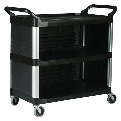 Rubbermaid Commercial 4093BLA Xtra™ Utility Cart w/ Enclosed End Panels on 3 Sides Black