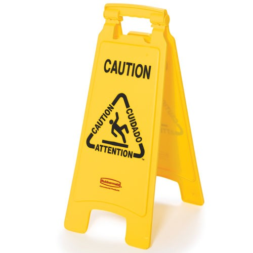 "Rubbermaid Commercial 611200YW Floor Sign w/ Multi-Lingual ""Caution"" Imprint 2-Sided"