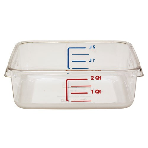 Rubbermaid Commercial 6302CLE 2 Qt. Space-Saving Square Storage Containers 6 Per Case Price Per Each