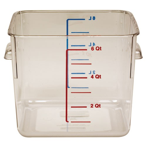 Rubbermaid Commercial 6306CLE 6 Qt. Space-Saving Square Storage Containers 6 Per Case Price Per Each